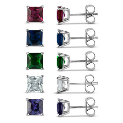 Sterling Silver 5mm Square Simulated Gemstone 5 Earring Pair Set