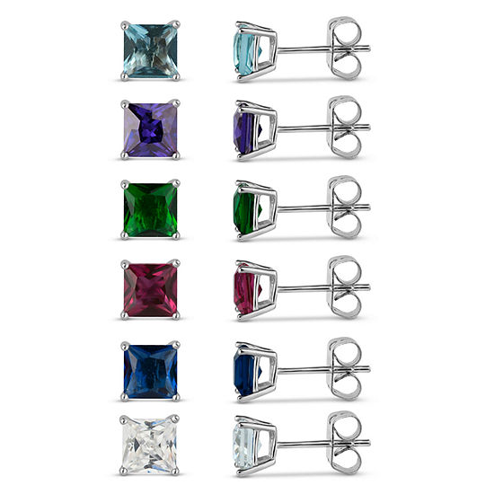 Sterling Silver 5mm Square Simulated Gemstone 6 Earring Pair Set