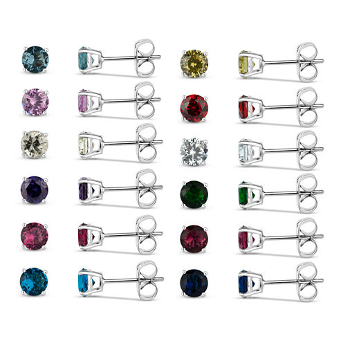 Sterling Silver 5mm Round Simulated Gemstone 12 Earring Pair Set