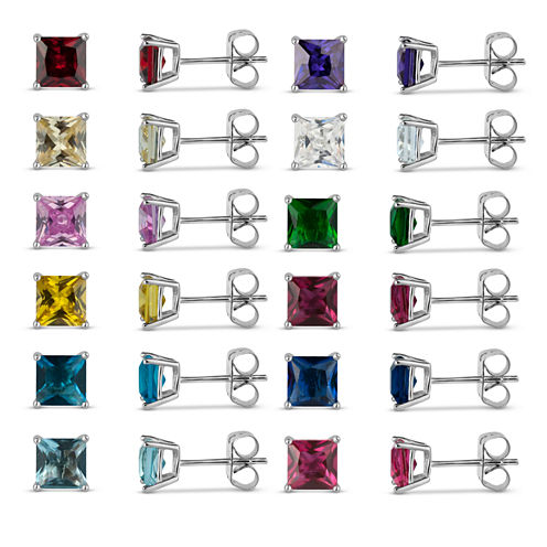 Sterling Silver 5mm Square Simulated Gemstone 12 Earring Pair Set