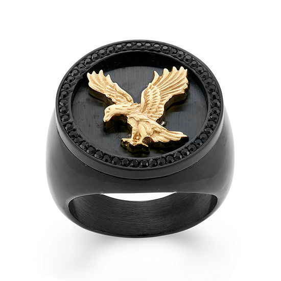 Mens Crystal Stainless Steel & Black IP Eagle Signet Ring