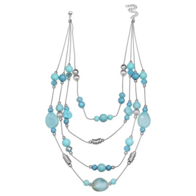 Mixit Clr 0717 Lt Blue Womens Illusion Necklace