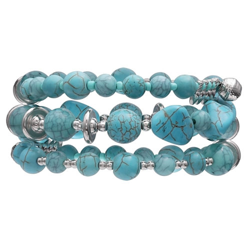 Mixit Clr 0717 Lt Blue Womens Beaded Bracelet