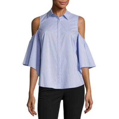 Worthington Cold Shoulder Button FrontShirt-Talls