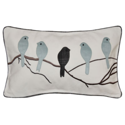 Five Perched Birds Rectangular Throw Pillow