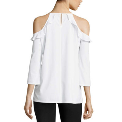 Worthington 3/4 Sleeve Cold Shoulder Blouse