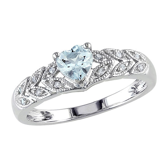 Womens Diamond Accent Genuine Blue Aquamarine Sterling Silver Heart Engagement Ring