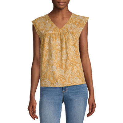 a.n.a Womens V Neck Sleeveless Blouse
