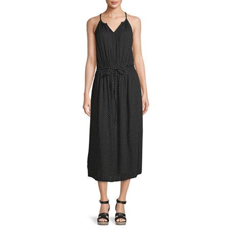 a.n.a. Sleeveless Midi Empire Waist Dress, Small , Black