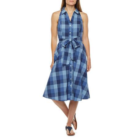 Fifties Dresses: 1950s Style Swing to Wiggle Dresses R  K Originals Sleeveless Plaid Shirt Dress 16  Blue $41.24 AT vintagedancer.com