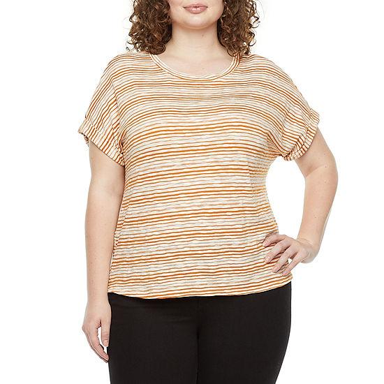 a.n.a Womens Plus Round Neck Short Sleeve T-Shirt