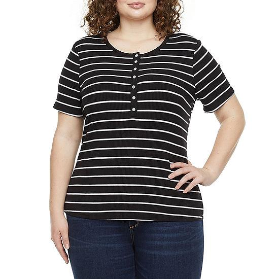 a.n.a-Plus Womens Henley Neck Short Sleeve Henley Shirt