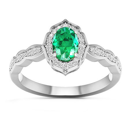 Womens Genuine Green Emerald 10K White Gold Halo Cocktail Ring, 8