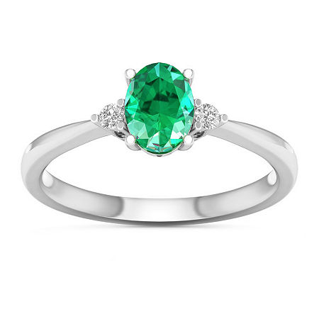 Womens Genuine Green Emerald 10K White Gold 3-Stone Cocktail Ring, 8 1/2