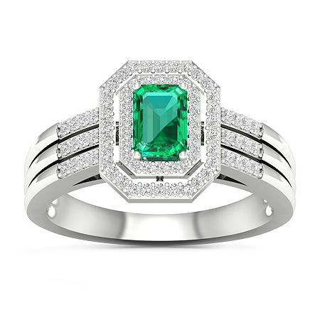 Womens Genuine Green Emerald 10K White Gold Cocktail Ring, 8