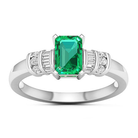 Womens Genuine Green Emerald 10K White Gold Cocktail Ring, 8 1/2