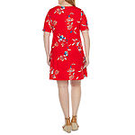 St. John's Bay Short Sleeve Dots A-Line Dress-Plus