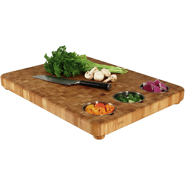 Totally Bamboo® Cutting Board with 3 Prep Bowls