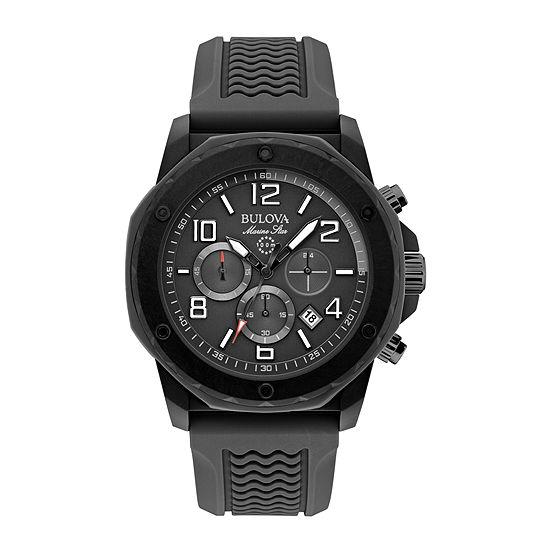 Bulova Mens Chronograph Black Strap Watch-98b223