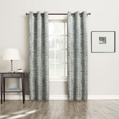 Sun Zero™ Allen Diamond Pattern Room-Darkening Grommet-Top Curtain Panel