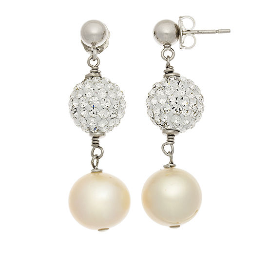 Cultured Freshwater Pearl & Crystal Sterling Silver Earrings