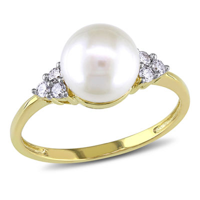 Cultured Freshwater Pearl & Diamond 10K Yellow Gold Ring