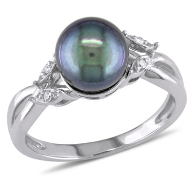 Black Cultured Freshwater Pearl & Diamond Accent 10K White Gold Ring