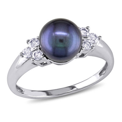 Black Cultured Freshwater Pearl & Diamond Accent 14K White Gold Ring