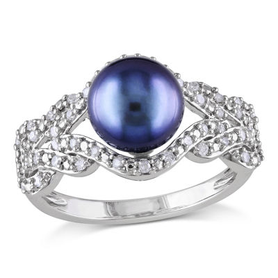 Black Cultured Freshwater Pearl 10K White Gold Ring