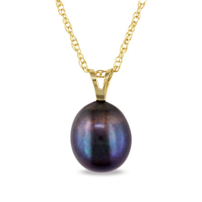 Black Cultured Freshwater Rice Pearl 10K Yellow Gold Pendant Necklace