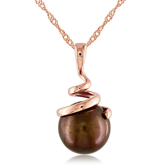 Brown Cultured Freshwater Pearl 14K Rose Gold Pendant Necklace