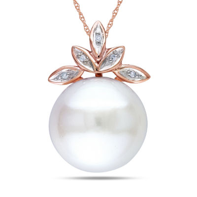 White Freshwater Cultured Pearl & Diamond Accent 10K Rose Gold Pendant Necklace