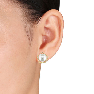White Freshwater Cultured Pearl Yellow Gold Earrings