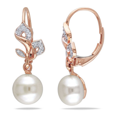 White Cultured Freshwater Pearl & Diamond 10K Rose Gold Earrings