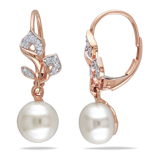 White Cultured Freshwater Pearl Diamond 10k Rose Gold Earrings