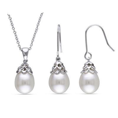 White Cultured Freshwater Rice Pearl Sterling Silver Earrings & Pendant Necklace 2-Piece Set