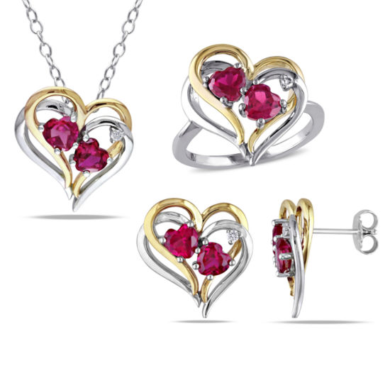 Sterling Silver White Yellow 1/10 CT Diamond TW And 4 3/4 CT TGW Created Ruby Jewlery Set