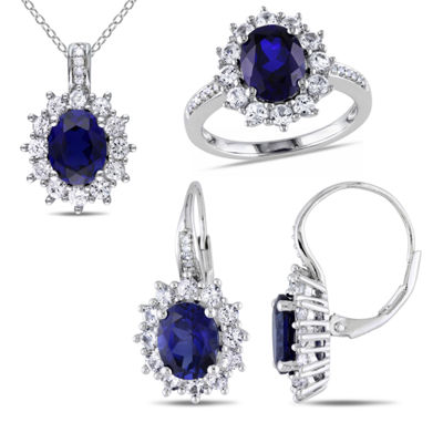 Lab-Created Blue Sapphire and Diamond Sterling Silver Earring, Ring, and Pendant Necklace 3-Piece Set