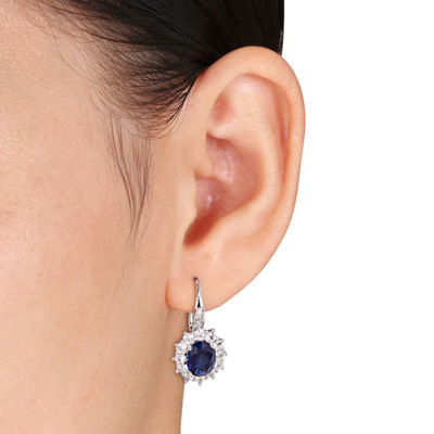 Lab-Created Blue Sapphire and Diamond Sterling Silver Earring and Pendant 2-Piece Set