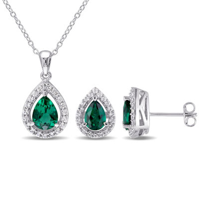 Lab-Created Emerald Sterling Silver Earrings and Pendant 2-Piece Set