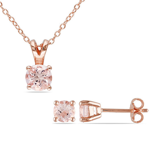 Pink Morganite Rose Tone Sterling Silver Jewlery Set