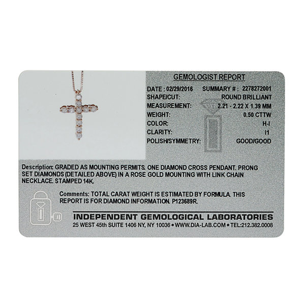 14K Rose Gold 1/2 CT. T.W. Diamond IGL Certified Cross Pendant Necklace