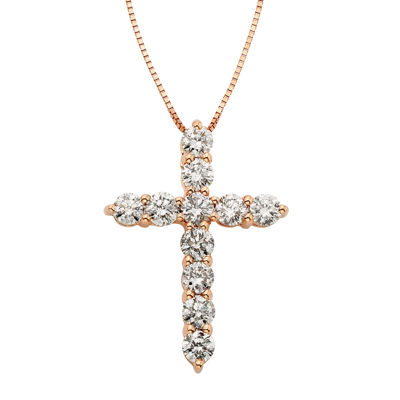 14K Rose Gold 1 CT. T.W. Diamond IGL Certified Cross Pendant Necklace