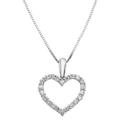 14K White Gold 1/4 CT. T.W. Diamond IGL Certified Heart Pendant Necklace