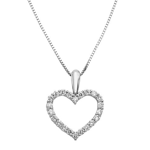 14K White Gold 1/4 CT. T.W. Diamond IGL Certified Heart Pendant Necklace