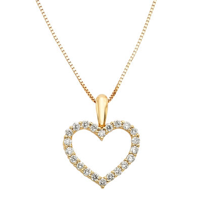 14K Yellow Gold .25 Carat Diamond Igl Certified Heart Pendant with Chain
