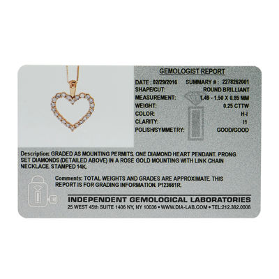 14K Rose Gold .25 Carat Diamond Igl Certified Heart Pendant with Chain