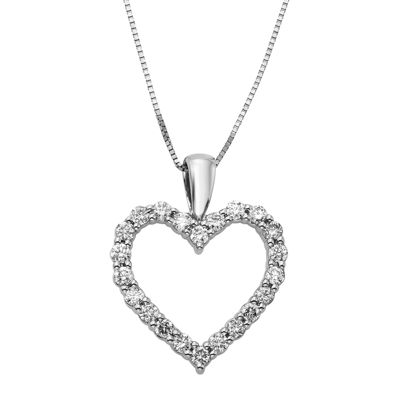 14K White Gold .50 Carat Diamond Igl Certified Heart Pendant with Chain
