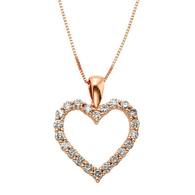 14K Rose Gold .50 Carat Diamond Igl Certified Heart Pendant with Chain