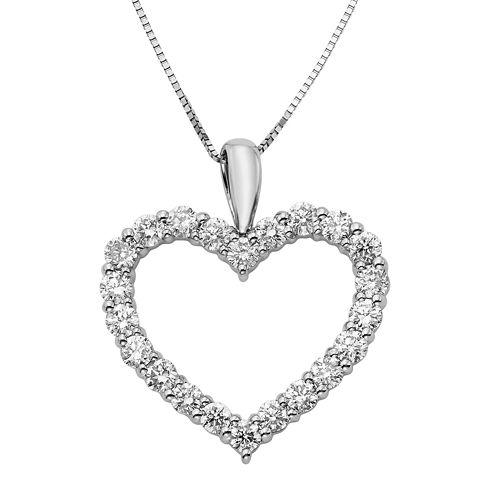 14K White Gold 1 Carat Diamond Igl Certified Heart Pendant with Chain